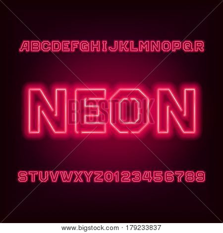 Red neon tube alphabet font. Type letters and numbers on a dark background. Vector typeset for your design.