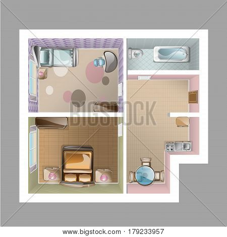 Modern graphic apartment top view - living room, kitchen, hall and bathroom.