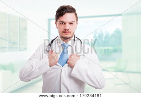 Handsome Doctor Tearing His Lab Coat