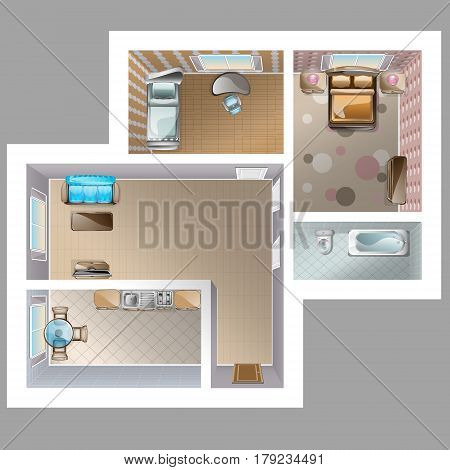 Top view detaleted interior. Interior kithen, two Bedrooms, living room
