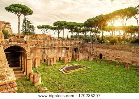 ROME, ITALY - OCTOBER 1, 2012: The ruins of the stadium of Domitian on the Palatine Hill at sunset.