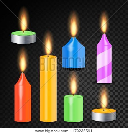 Burning 3D Realistic Dinner Candles Vector. Decorative Aromatic Tealight Candles Set. Isolated Tea Candle Sticks With Burning Flames On Transparent Background. Holiday Decoration Element