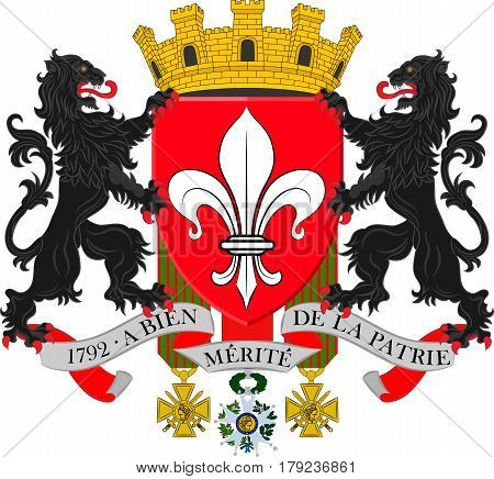 Coat of arms of Lille it is the capital of the Hauts-de-France region and the prefecture of the Nord department in French Flanders. Vector illustration