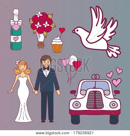 Wedding couple relationship marriage nuptial icons design ceremony celebration and holliday people folk icons beauty portrait family vector illustration. Cheerful fashion groom and bride symbols.