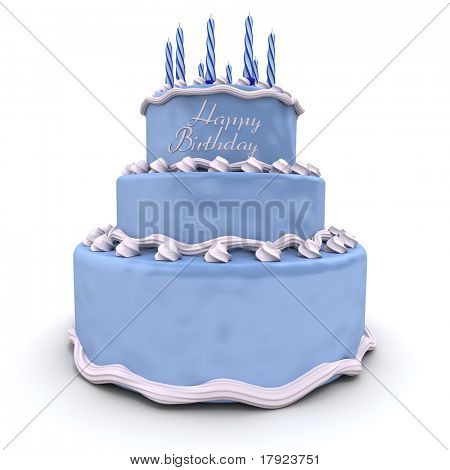 3D rendering of a big blue birthday cake
