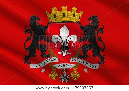 Flag of Lille it is the capital of the Hauts-de-France region and the prefecture of the Nord department in French Flanders. 3d illustration