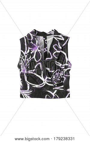 Black vintage sleeveless top on white background