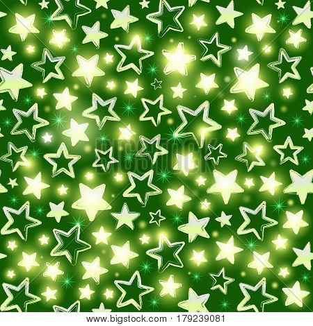 Seamless pattern with shining stars on green background. Beautiful greeting background. Wrapping paper. Vector illustration