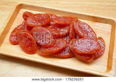 Chinese Sausages Asian Cuisine Food Dish on a Wood Plate