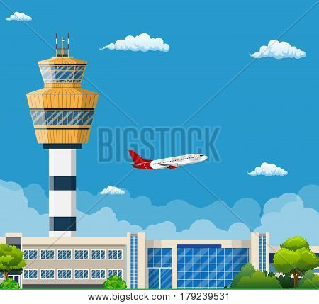 Airport Terminal with Control Tower , Travel and Tourism Concept , Travel and Tourism Concept
