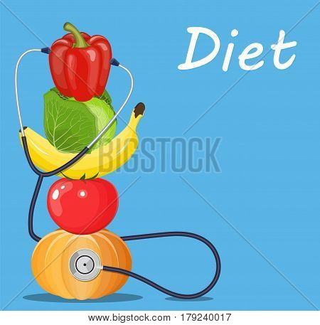 fruits and vegetables with a stethoscope. Healthy diet concept. Vector illustration in flat style