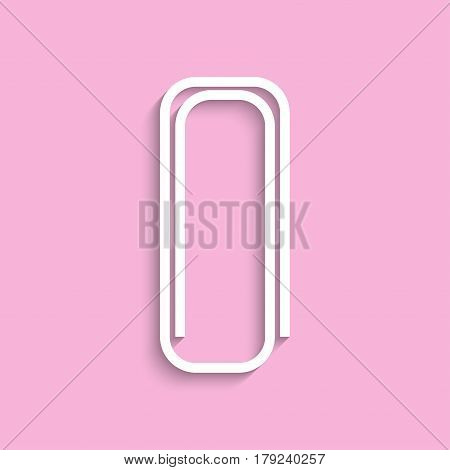Paperclip. Vector icon. White image on a pink background with a shadow.