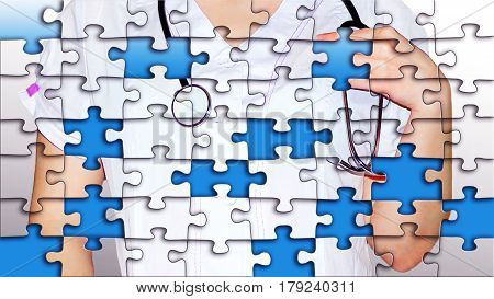 Puzzles from nurse on the blue background