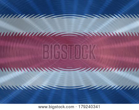 Costa Rica flag background with ripples and rays illustration