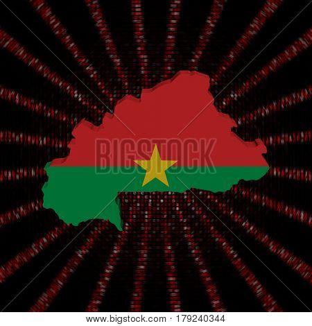 Burkina Faso map flag on red hex code burst 3d illustration