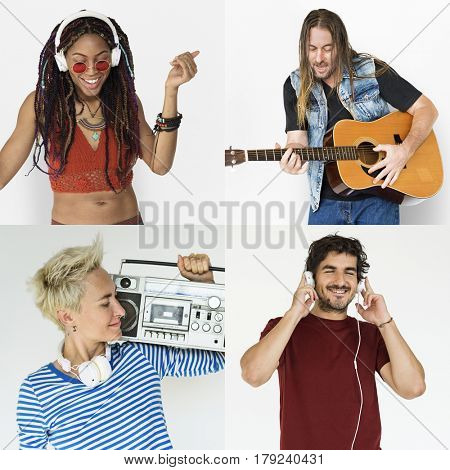 Set of Diversity People Get in Tune Music Collage