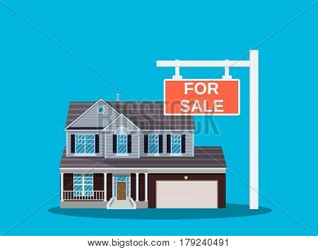 Suburban family house set. Countryside wooden and brick house icon. For sale placard. Real estate. Vector illustration in flat style