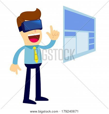 Vector stock of a businessman accessing website using virtual reality glasses