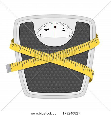 Bathroom floor weight scale and measuring tape. illustration in flat style on white background.