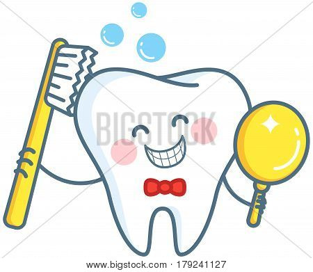 Tooth and toothbrush.Tooth crown in foam bubbles. Teeth hygiene. Vector illustration