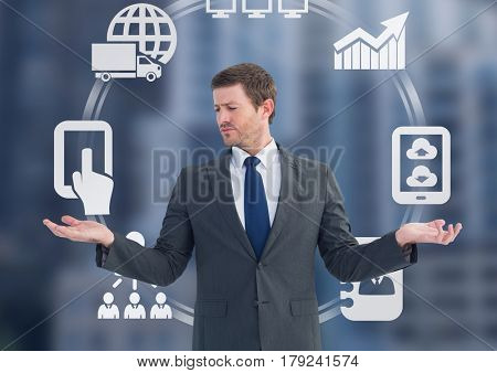 Digital composite of Man choosing or deciding business icons wheel with open palm hands