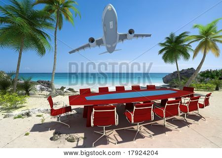 3D rendering of a meeting room in a beautiful tropical beach and a flying plane