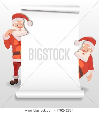 Two Jolly Santa Claus holding a white sheet scroll for your text. Vector illustration.