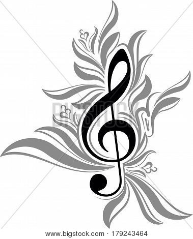 Abstract black and white musical background with treble clef.