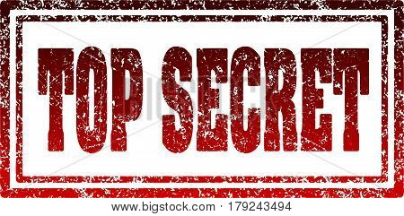 Top secret red rectangular red rubber stamp.