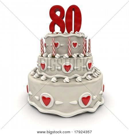 3D rendering of a multi-tiered cake with a number eighty on top