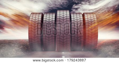 Row of tyres against view of an empty street 3d