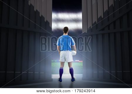 Rugby player gesturing with hands against football pitch with world cup flags 3d