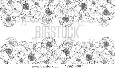 Seamless vector flowers pattern isolated on white background. Flower isolated against white.