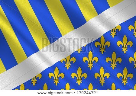 Flag of Oise is a department of Hauts-de-France is a Region in the north of France. Natives of the department are called Isariens. 3d illustration