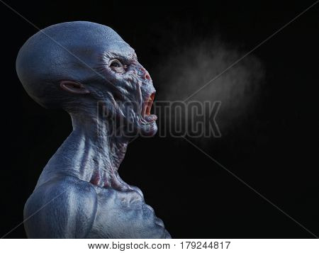 Portrait of an alien creature yelling and smoke coming out from its mouth 3D rendering. Black background.