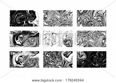 Marble textures. Black and white. Vector illustration. Black and white marbling ink texture. Paint splash. Trendy wallpapers collection. For invitation birthday business cards backgrounds.