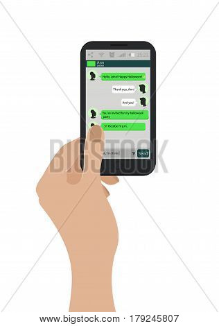 Hand Holding Mobile Phone. Vector Illustration. Green Chat Boxes On Smartphone Screen. Messaging Con