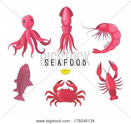 Seafood Icons Collection. Vector Illustration. Seafood Platter - Crab, Lobster, Fish, Octopus, Shrim