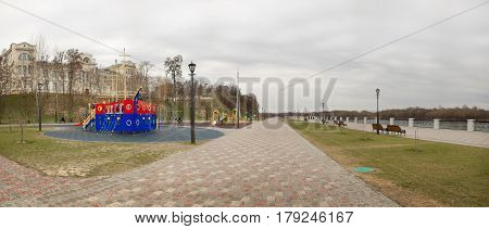 Gomel, Belarus - March 29, 2017: View Of The Sozh River Embankment.