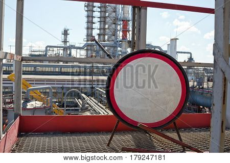 Warning Sign Without Text At A Petrochemical Plant