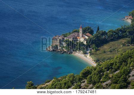Landscape with beautiful beach near Bol city, Brac island, Croatia
