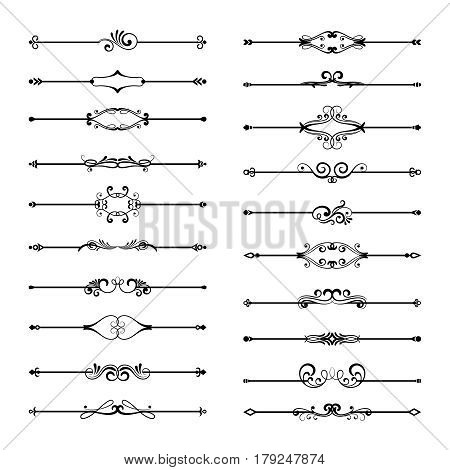 Thin line divider set isolated on white background. Vintage black floral page dividers. Classic calligraphy ornate elements for title illustration