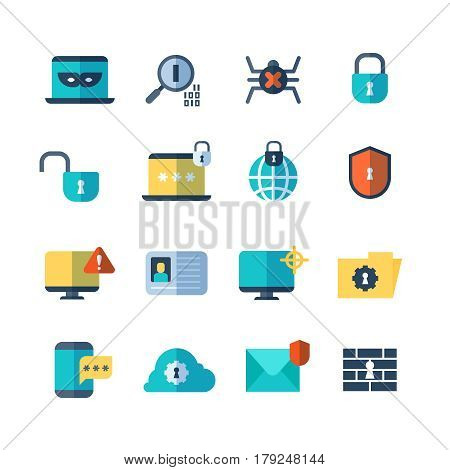 Web security, virus protection, bug checkups vector flat icons. Computer storage and protection service icon illustration