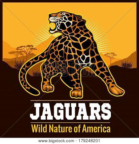Vector Jaguar leopard Logo emblem symbol on black background