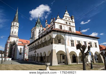 LEVOCA SLOVAKIA - MARCH 19: St. James church and town hall in historic centre of city on March 19 2017 in Levoca