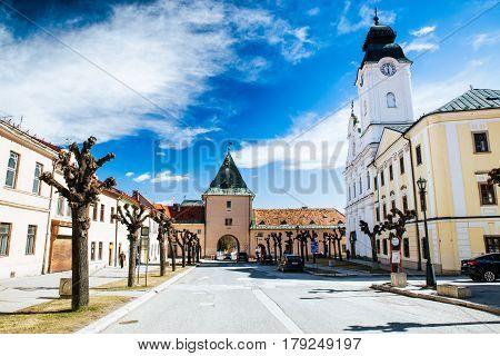 LeVOCA SLOVAKIA - MARCH 19: Historic Kosicka gate in centre of city on March 19 2017 in Levoca
