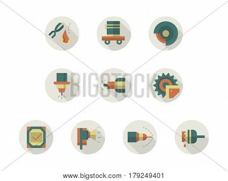 Symbols of industrial tools and equipment for metalworking workshop. Metal processing elements. Collection of stylish flat color round vector icons.