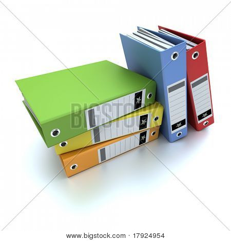 3D-rendering of a group of colorful ring binders