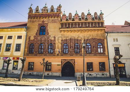 LEVOCA SLOVAKIA - MARCH 19: Thurzo house with reneissance facade in historic centre of town on March 19 2017 in Levoca