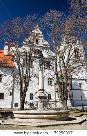 Statue at square in historic town Levoca Slovakia